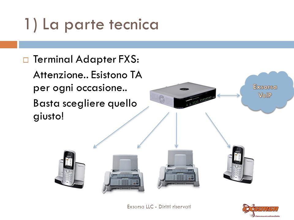 1) La parte tecnica Terminal Adapter FXS: Permettono di collegare apparati telefonici tradizionali (telefoni, cordless dect, fax) a Exsorsa.