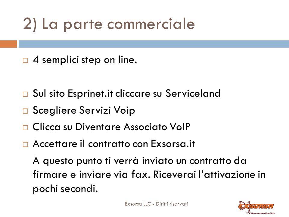 2) La parte commerciale Diventare rivenditore di Exsorsa è immediato: