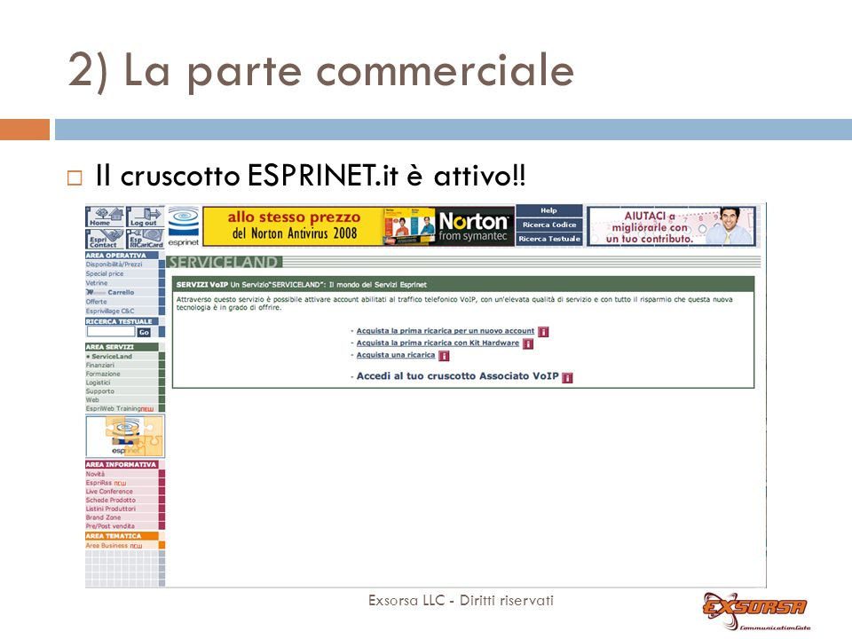 2) La parte commerciale 4 semplici step on line.