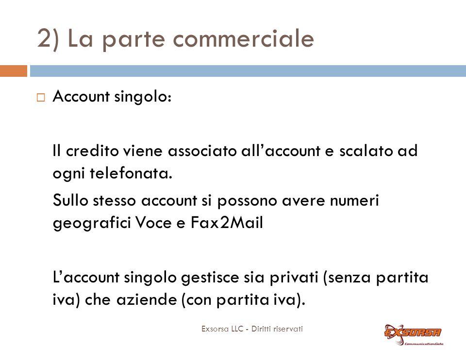 2) La parte commerciale Caratteristiche del prodotto e facilità di vendita: 1) Gestione account singolo.