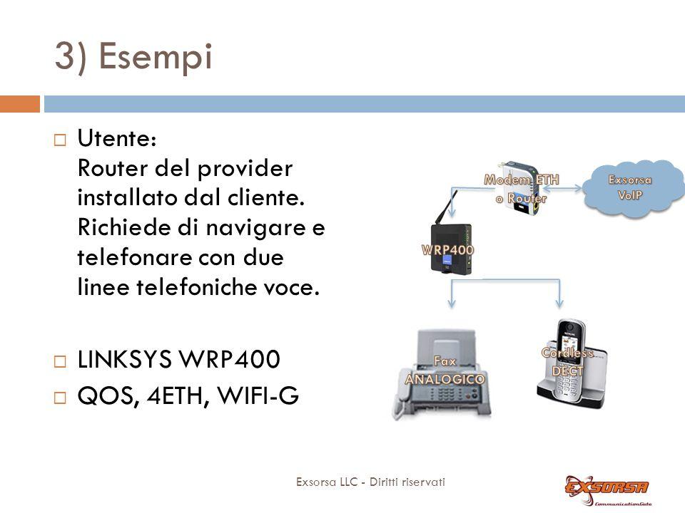 3) Esempi Utente SOHO: nessun apparato installato dal cliente, adsl naked . Richiede di navigare e telefonare con due linee telefoniche voce.