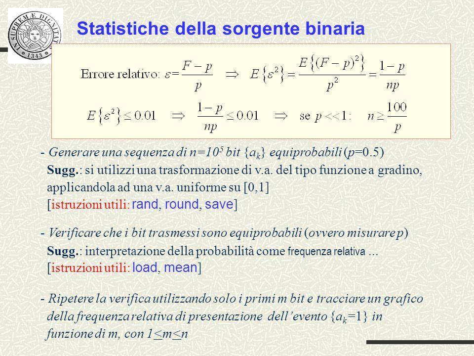 Statistiche della sorgente binaria