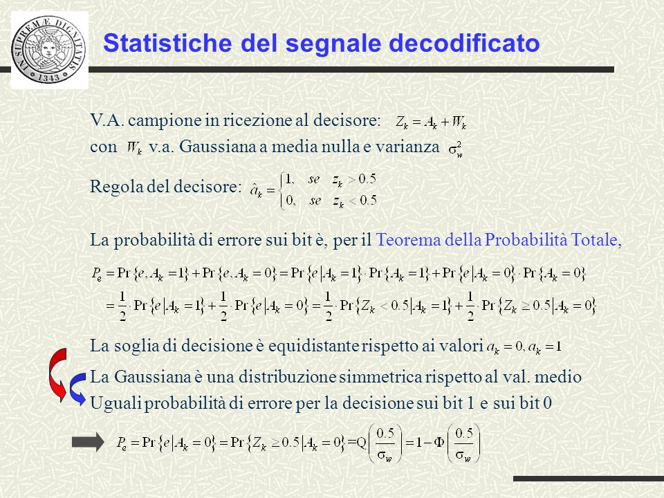Statistiche del segnale decodificato