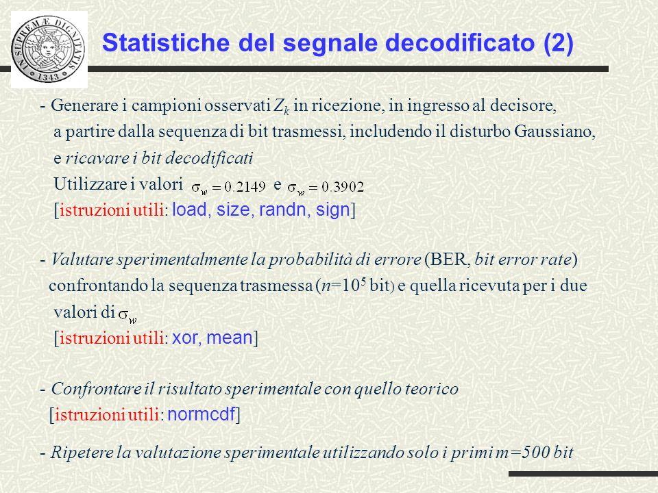 Statistiche del segnale decodificato (2)