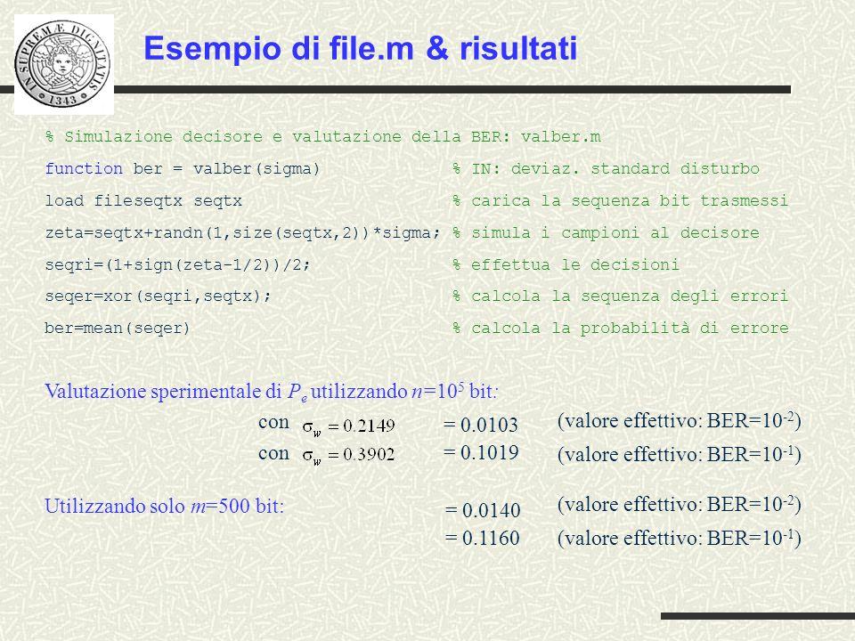 Esempio di file.m & risultati