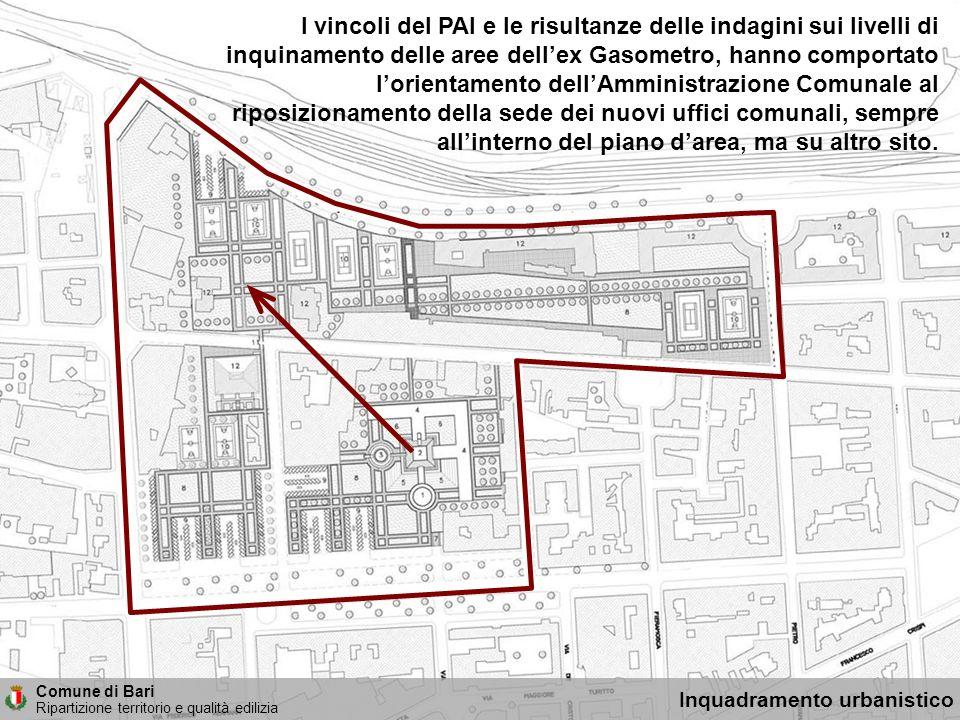 I vincoli del PAI e le risultanze delle indagini sui livelli di inquinamento delle aree dell'ex Gasometro, hanno comportato l'orientamento dell'Amministrazione Comunale al riposizionamento della sede dei nuovi uffici comunali, sempre all'interno del piano d'area, ma su altro sito.