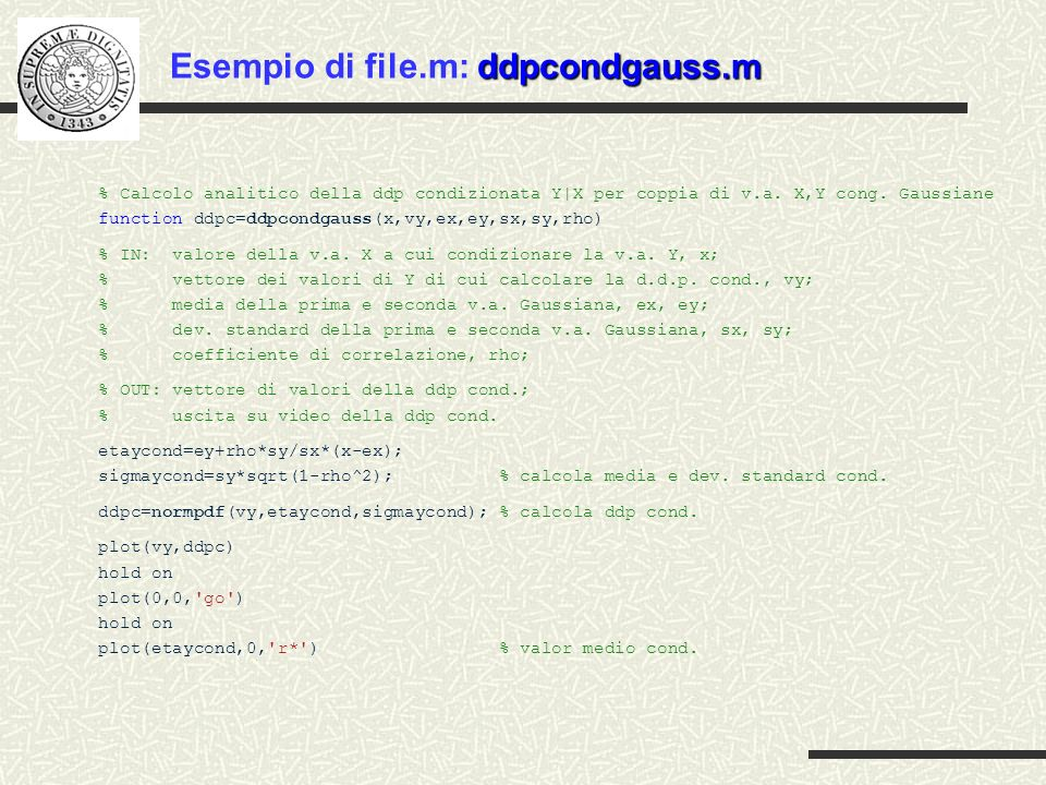 Esempio di file.m: ddpcondgauss.m