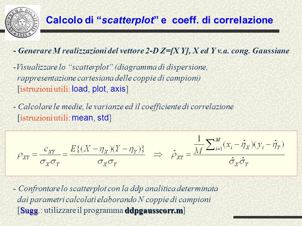 Calcolo di scatterplot e coeff. di correlazione