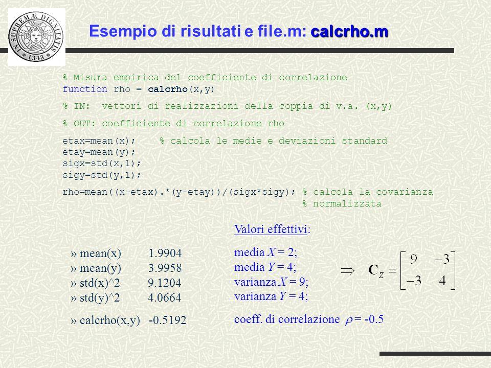 Esempio di risultati e file.m: calcrho.m