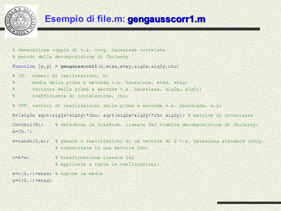 Esempio di file.m: gengausscorr1.m