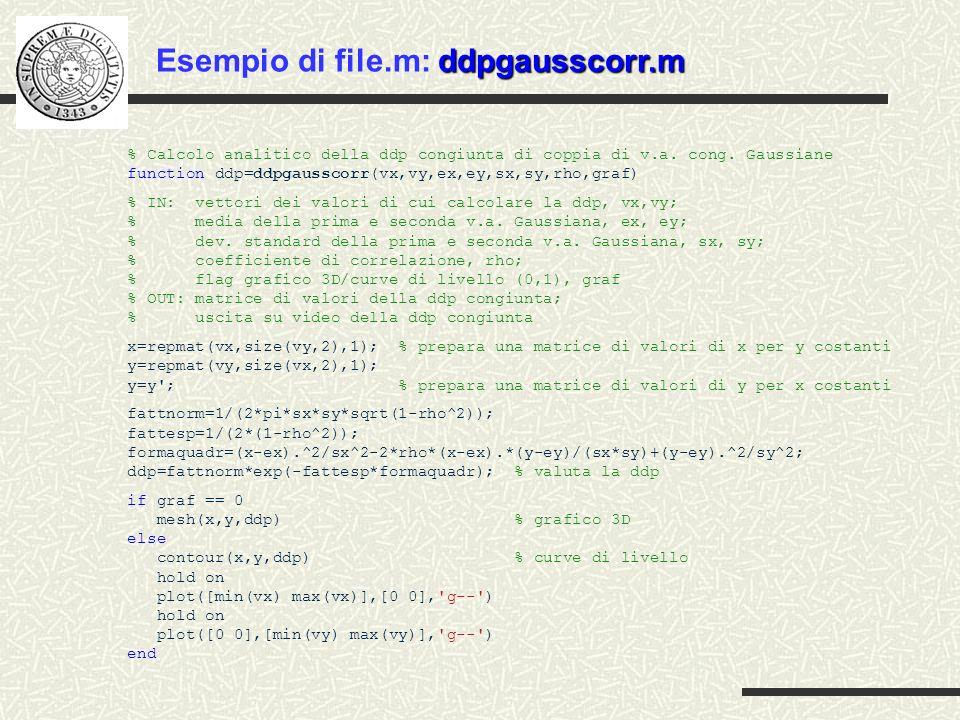 Esempio di file.m: ddpgausscorr.m
