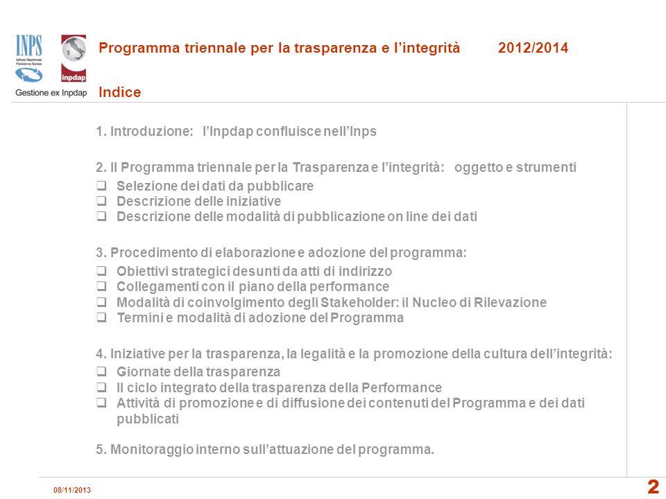 Programma triennale per la trasparenza e l'integrità 2012/2014 Indice