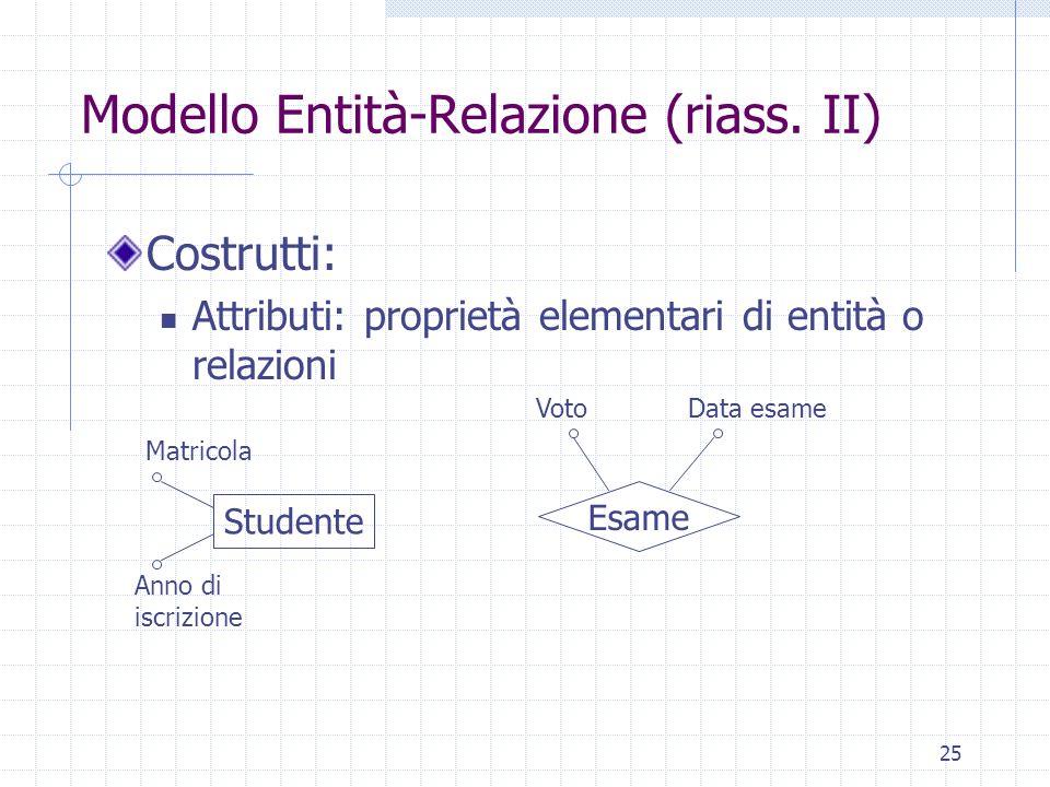 Modello Entità-Relazione (riass. II)