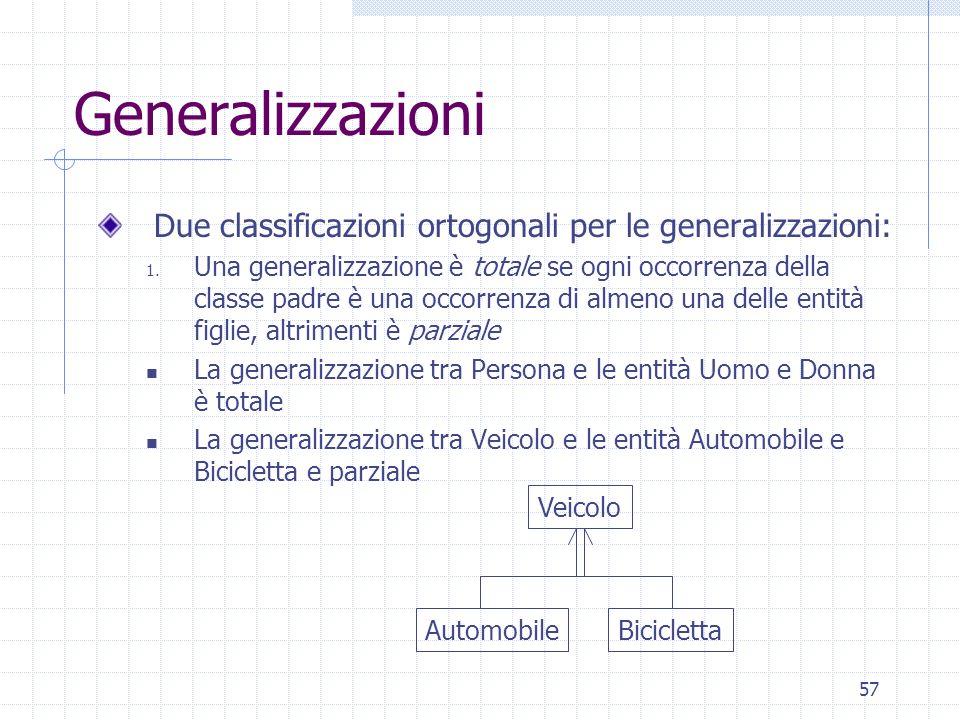 Generalizzazioni Due classificazioni ortogonali per le generalizzazioni:
