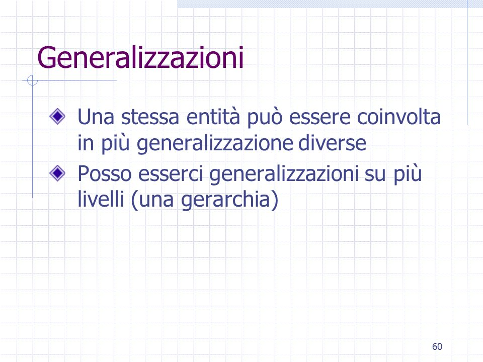 GeneralizzazioniUna stessa entità può essere coinvolta in più generalizzazione diverse.