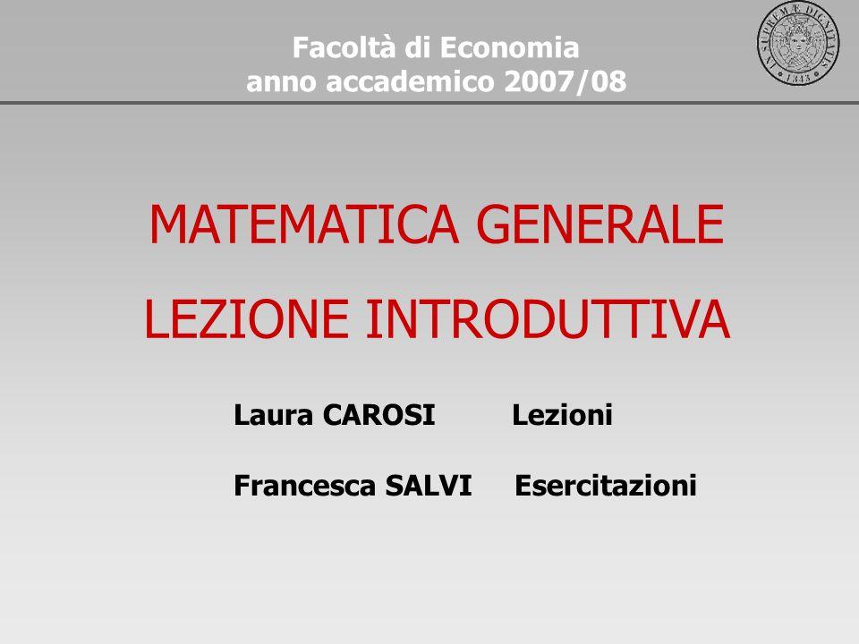 Laura CAROSI Lezioni Francesca SALVI Esercitazioni