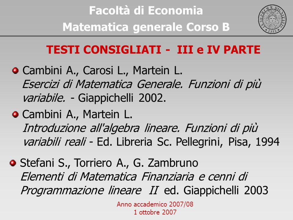 Matematica generale Corso B TESTI CONSIGLIATI - III e IV PARTE