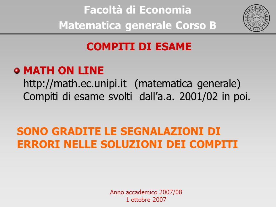 Matematica generale Corso B