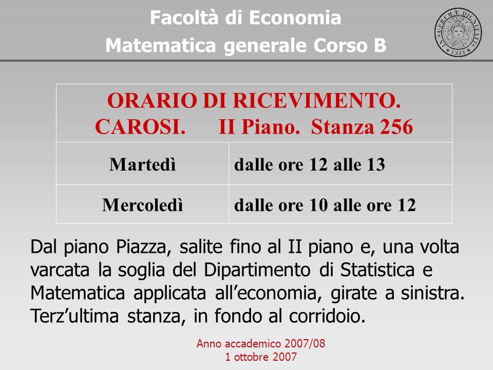 ORARIO DI RICEVIMENTO. CAROSI. II Piano. Stanza 256