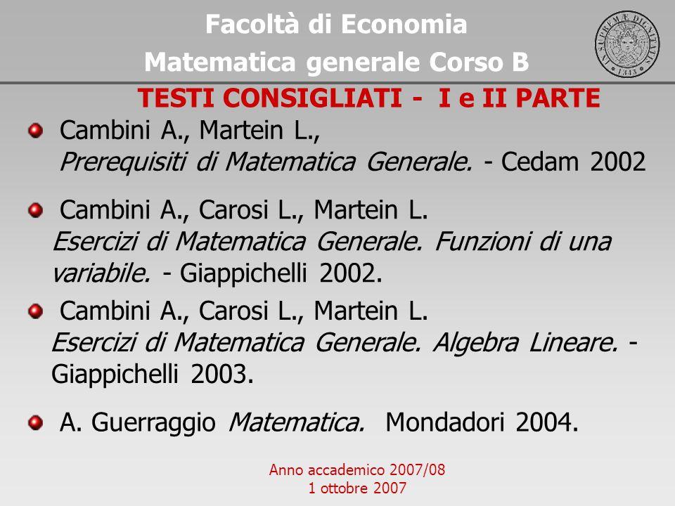 Matematica generale Corso B TESTI CONSIGLIATI - I e II PARTE