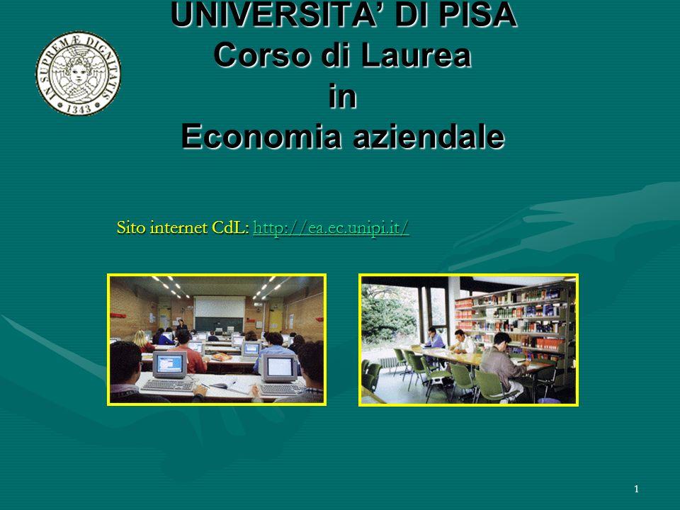 UNIVERSITA' DI PISA Corso di Laurea in Economia aziendale
