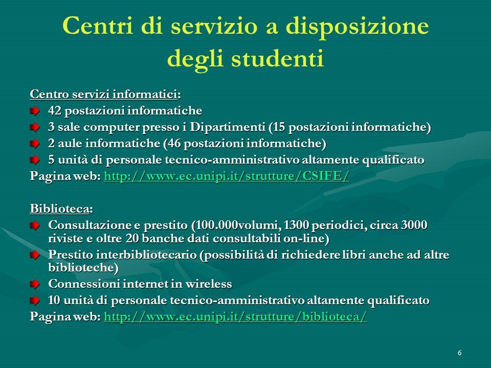 Centri di servizio a disposizione degli studenti