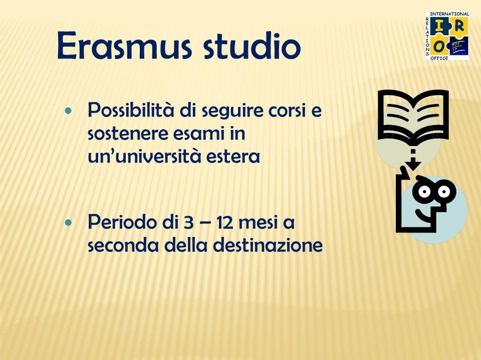 Erasmus studio Possibilità di seguire corsi e sostenere esami in un'università estera.
