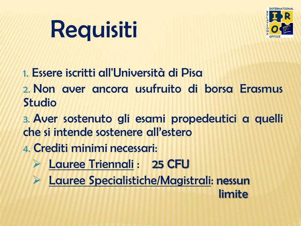 Requisiti Essere iscritti all Università di Pisa