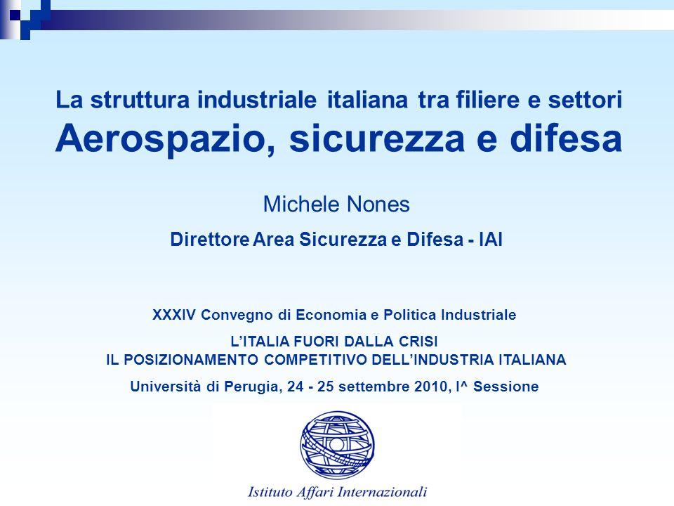 La struttura industriale italiana tra filiere e settori Aerospazio, sicurezza e difesa