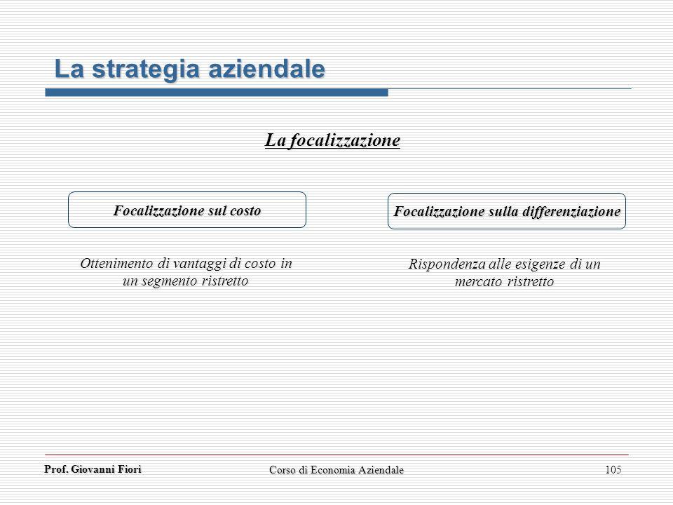 Focalizzazione sul costo Focalizzazione sulla differenziazione