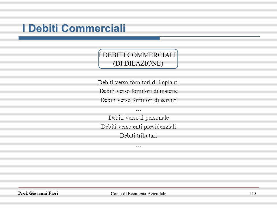 I Debiti Commerciali I DEBITI COMMERCIALI (DI DILAZIONE)
