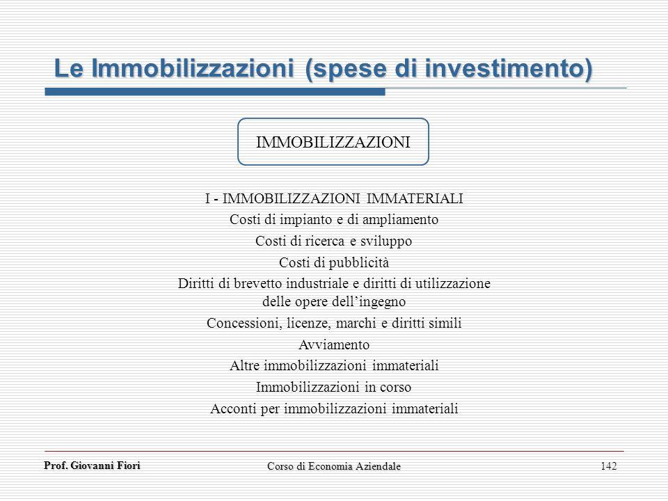 Le Immobilizzazioni (spese di investimento)
