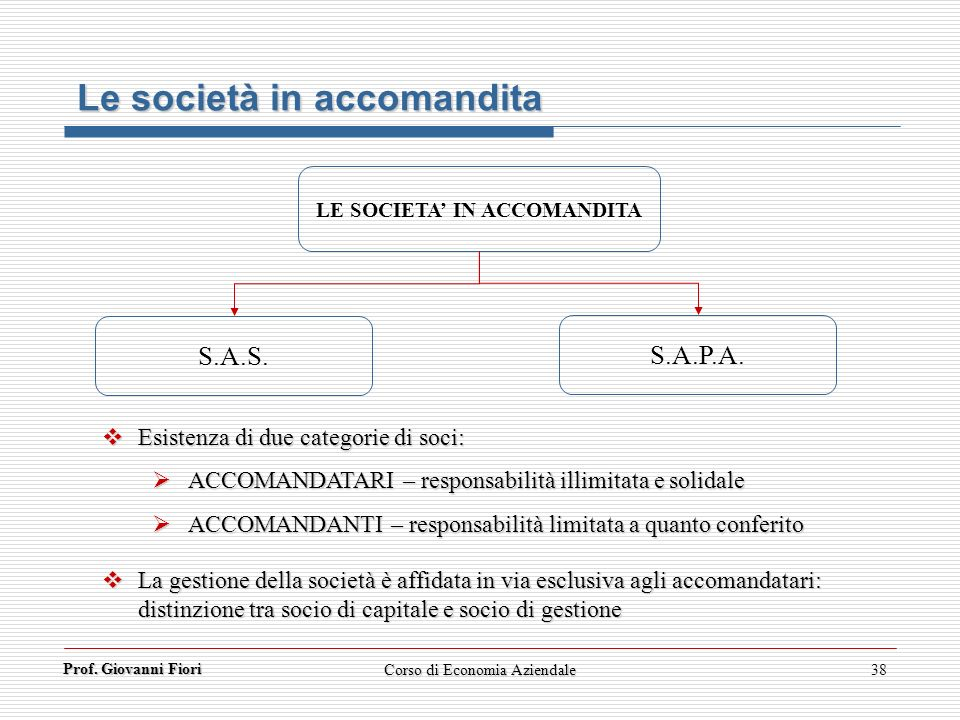 LE SOCIETA' IN ACCOMANDITA