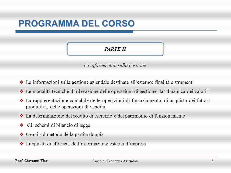 PROGRAMMA DEL CORSO PARTE II Le informazioni sulla gestione