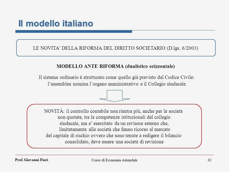 MODELLO ANTE RIFORMA (dualistico orizzontale)
