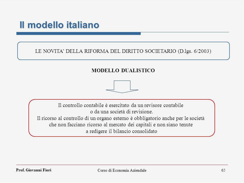 Il modello italiano LE NOVITA' DELLA RIFORMA DEL DIRITTO SOCIETARIO (D.lgs. 6/2003) MODELLO DUALISTICO.