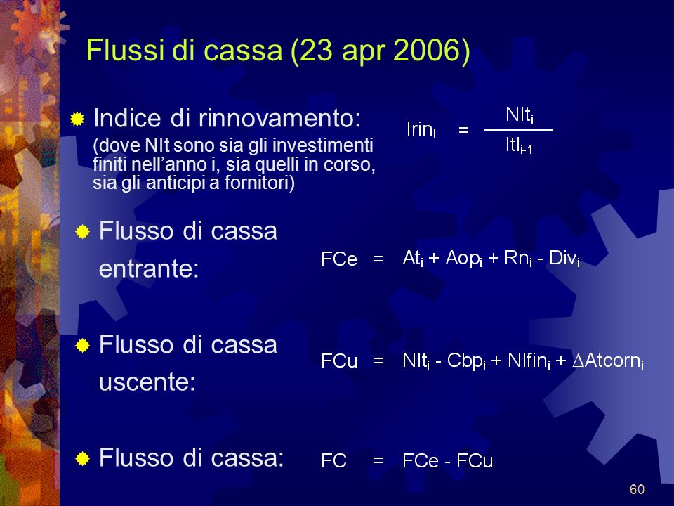 Flussi di cassa (23 apr 2006) Indice di rinnovamento: Flusso di cassa