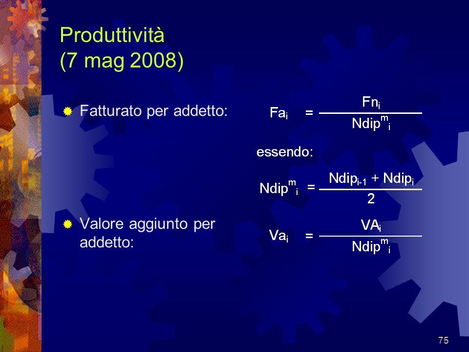 Produttività (7 mag 2008) Fatturato per addetto:
