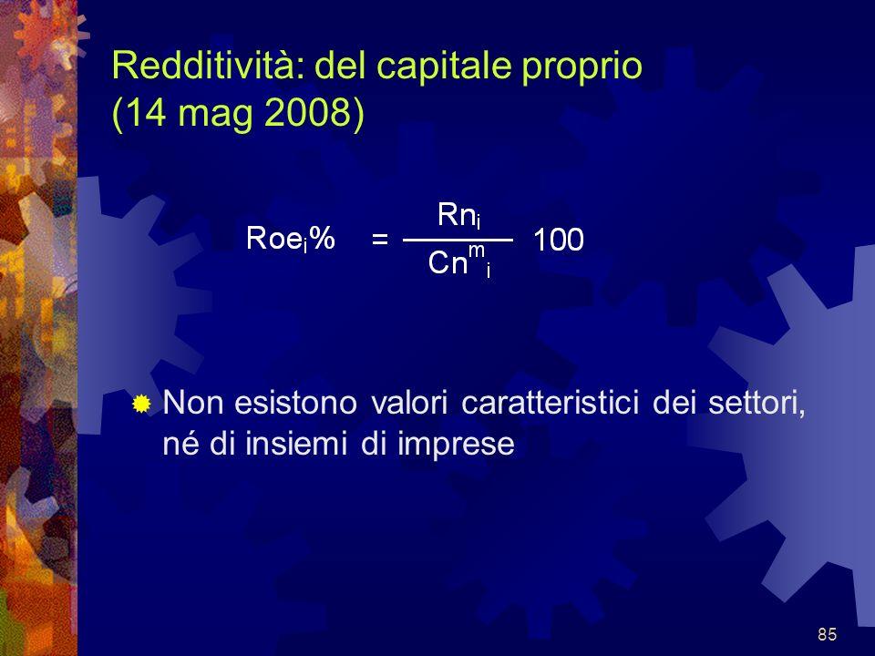 Redditività: del capitale proprio (14 mag 2008)