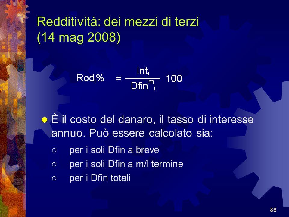 Redditività: dei mezzi di terzi (14 mag 2008)