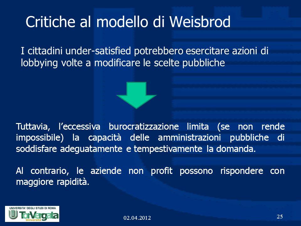 Critiche al modello di Weisbrod