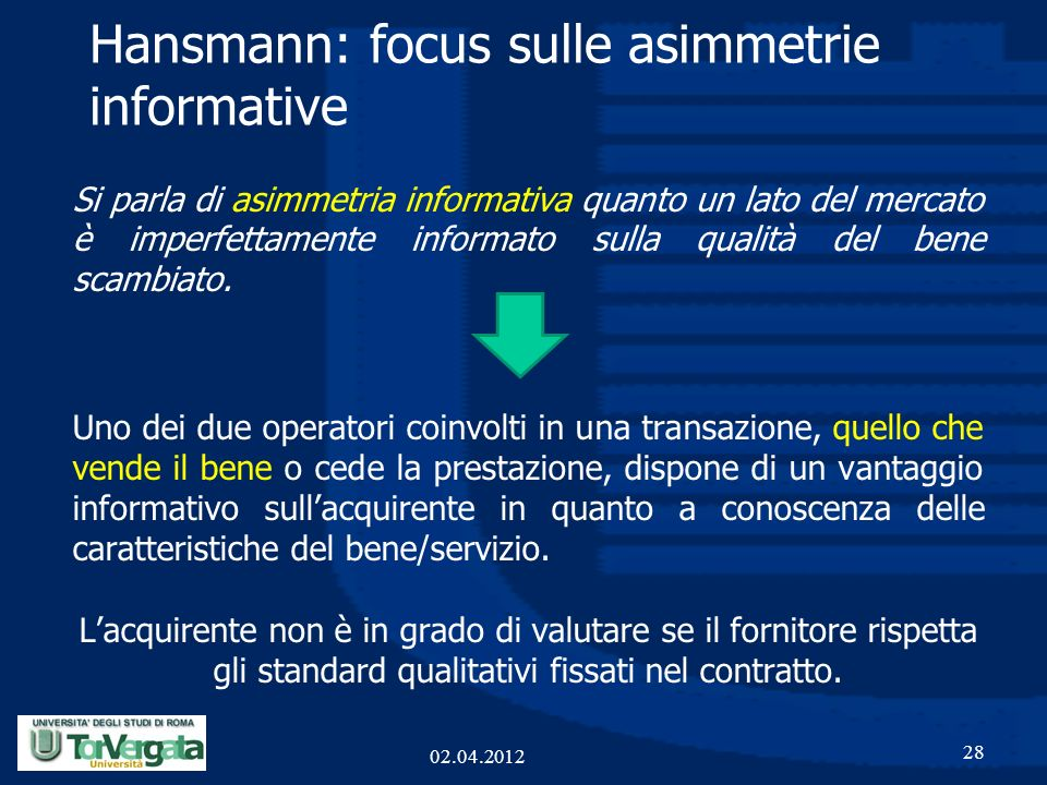 Hansmann: focus sulle asimmetrie informative