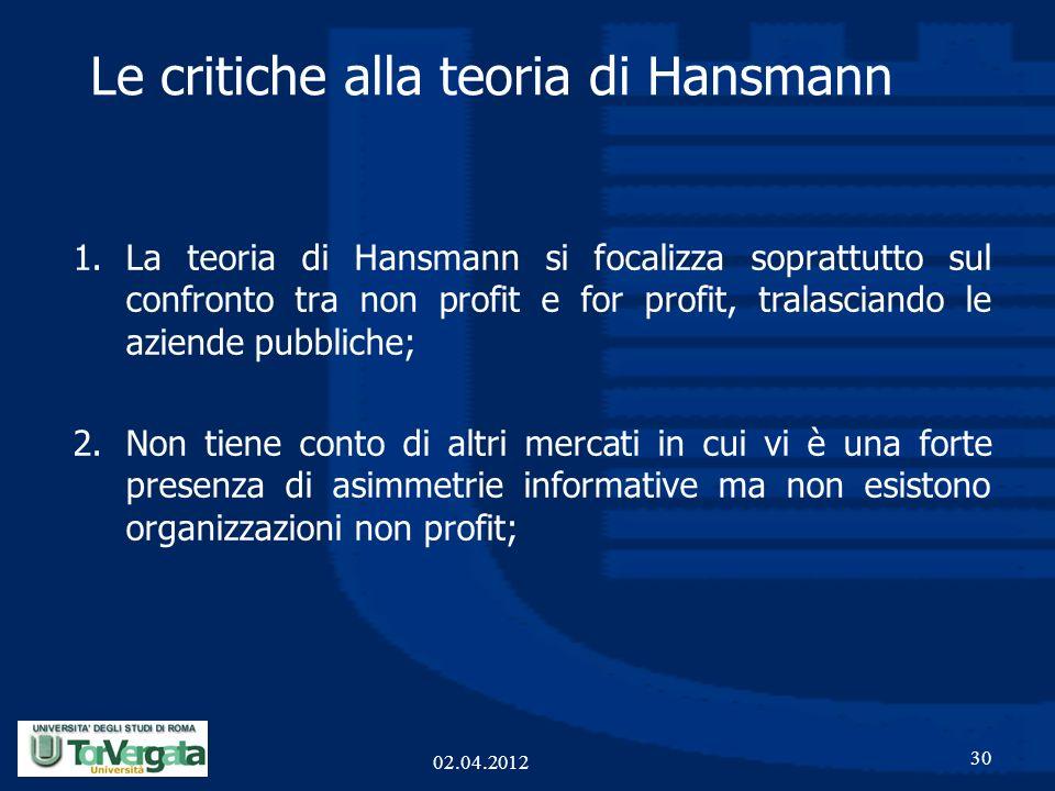 Le critiche alla teoria di Hansmann