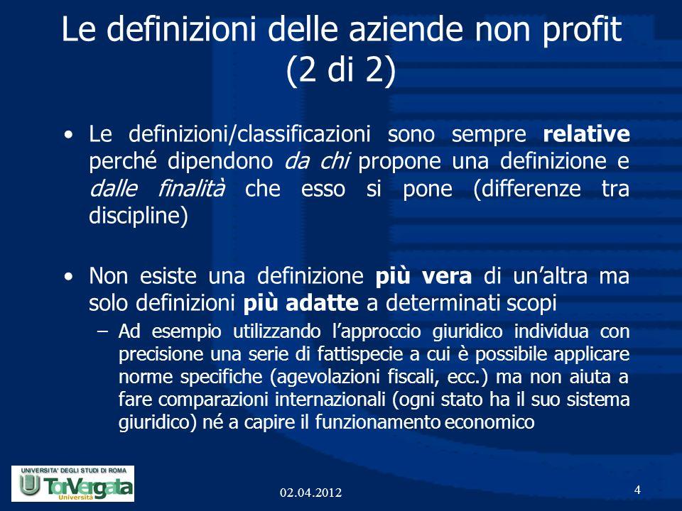 Le definizioni delle aziende non profit (2 di 2)