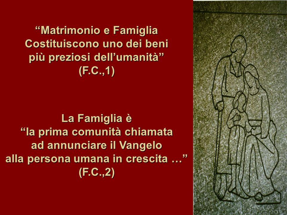 Matrimonio e Famiglia Costituiscono uno dei beni