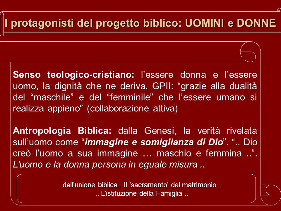 I protagonisti del progetto biblico: UOMINI e DONNE