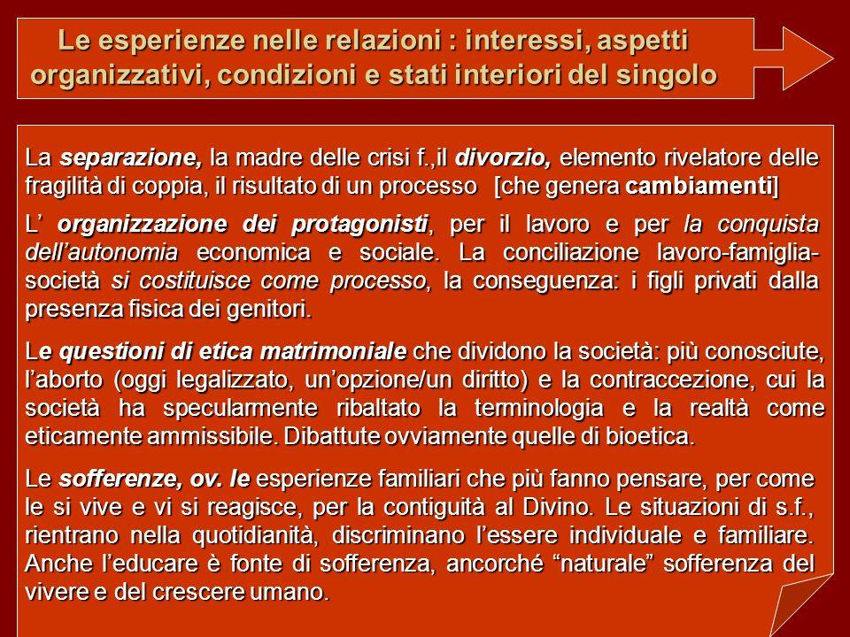 Le esperienze nelle relazioni : interessi, aspetti organizzativi, condizioni e stati interiori del singolo