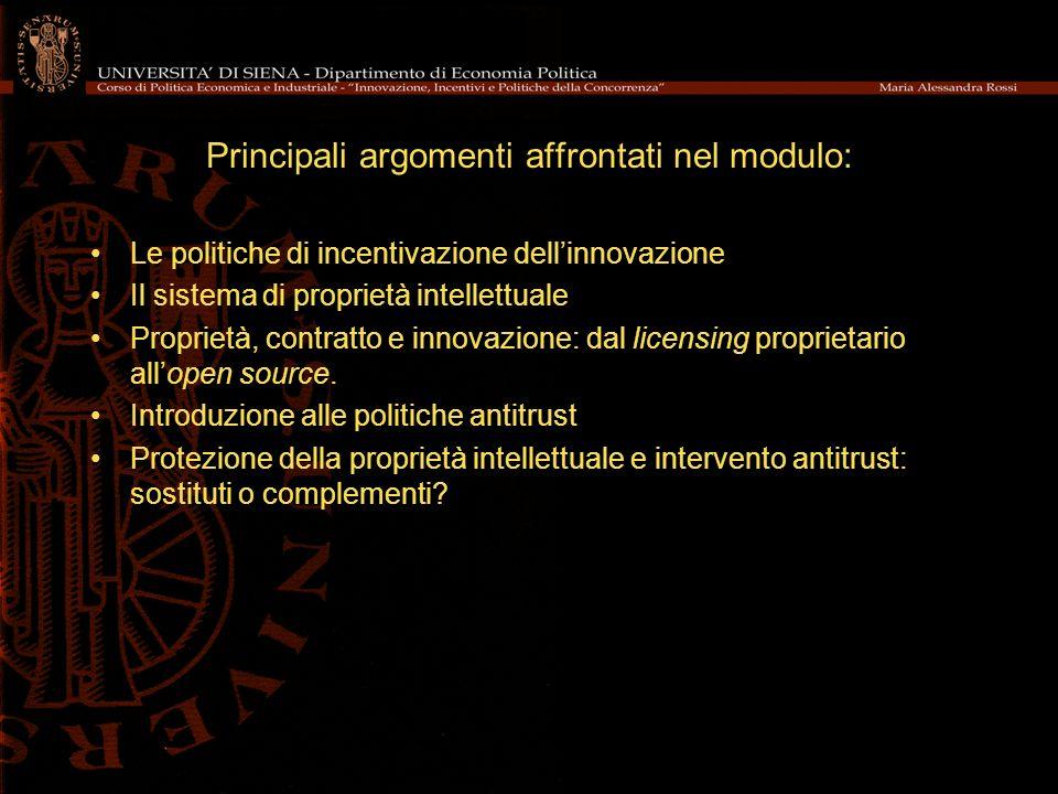 Principali argomenti affrontati nel modulo: