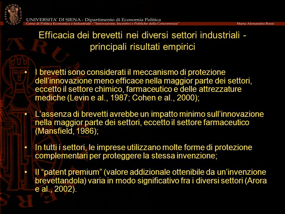 Efficacia dei brevetti nei diversi settori industriali - principali risultati empirici