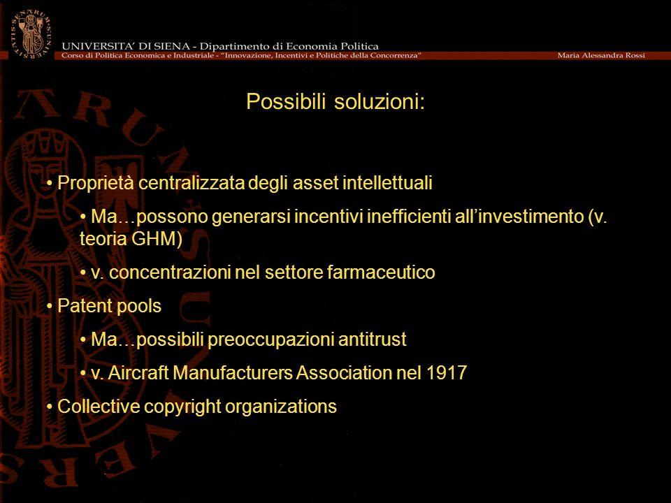 Possibili soluzioni: Proprietà centralizzata degli asset intellettuali